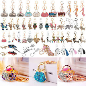 Fashion-Crystal-Rhinestone-Keyring-Keychain-Charm-Pendant-Bag-Car-Key-Chain-Ring