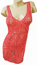 CORAL PINK SLEEVELESS CROCHET DRESS, I LOVE H81 SIZE MED / UK 10-12, LD310