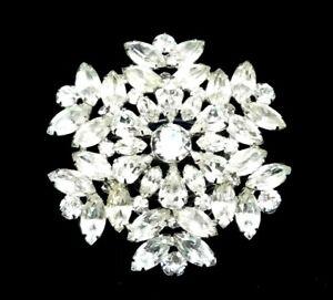 Vintage-Huge-3-034-Signed-WEISS-Clear-Rhinestone-Layered-Snowflake-Brooch-Rhodium