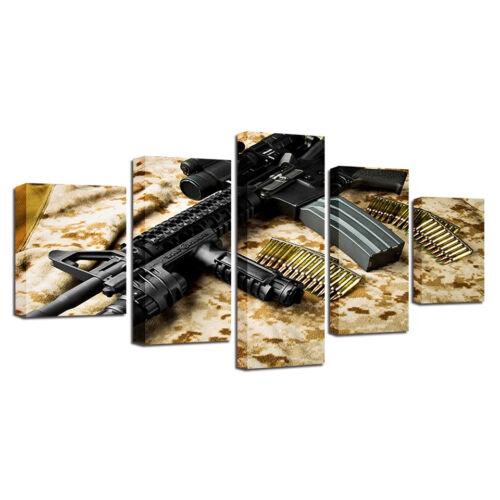 Army Rifle Gun And Bullets 5 Piece Canvas Print Wall Art