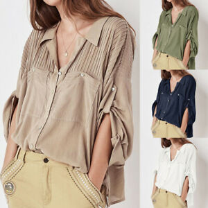 Plus-Size-Women-Button-Tunic-Blouse-Long-Sleeve-Casual-Loose-Shirt-Top-Solid-Tee