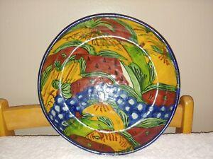 Talavera Bowl Mexican Pottery 11 1 2 Large Fruit Salad Serving Deep Dish Round Ebay