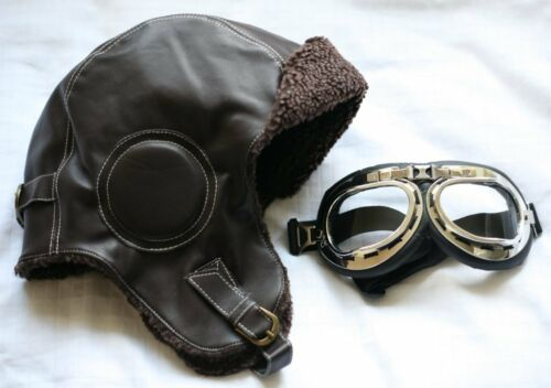 Biggles Leather Flying Helmet *INC GOGGLES* WW2 style Leather Bomber Aviator hat