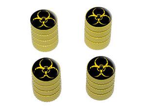 Zombie-Outbreak-Biohazard-Yellow-Tire-Rim-Valve-Stem-Caps-Yellow
