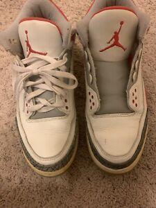 Nike-Air-Jordan-3-III-Retro-Fire-Red-White-Black-Men-039-s-Size-10