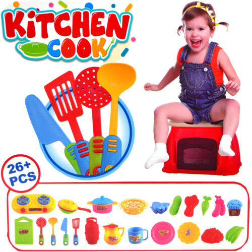 14PC Cuisine Cook Table Set Fun Cadeau Play 3 en 1 Portable Tabouret Carry Case Toy