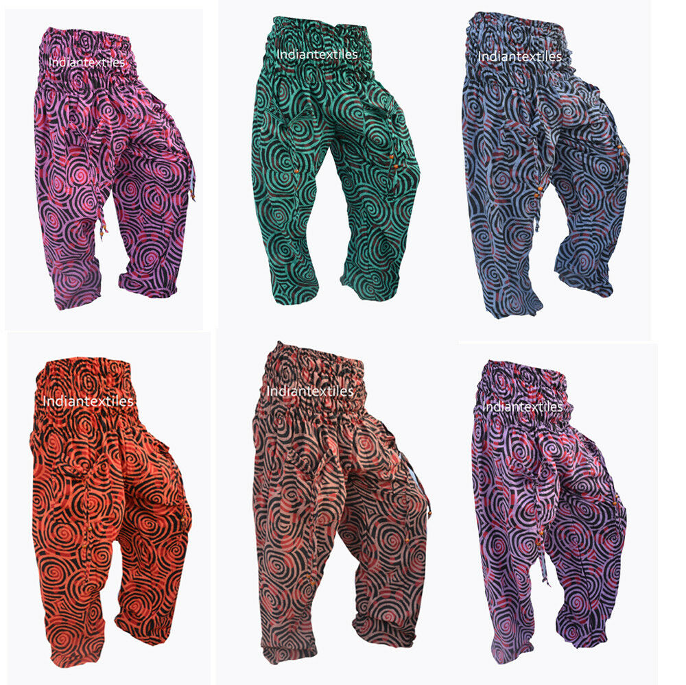 Indian Cotton Handmade Jalebi Print Yoga Pant Lot of 6 Men Women Harem Trouser