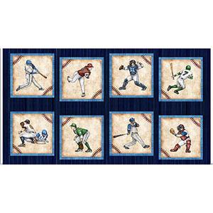 Sports-Baseball-Player-Catcher-Blue-Cotton-Fabric-QT-Grand-Slam-24-034-X44-034-Panel