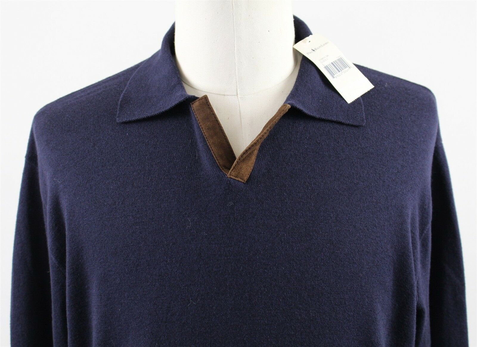 NWT Polo Ralph Lauren Wool Cotton Polo Sweater  Herren LARGE Blau Pullover