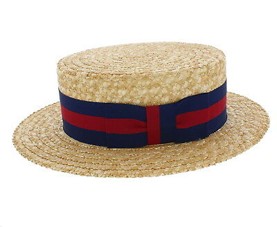 Olney Traditional Natural Straw Boater Hat With A Choice of Black Or Guards Band