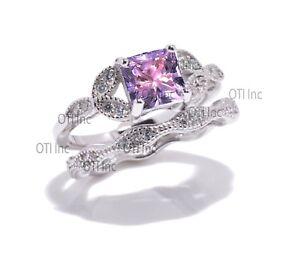 Princess Aquamarine CZ Engagement Wedding Nature Wreath Sterling Silver Ring Set