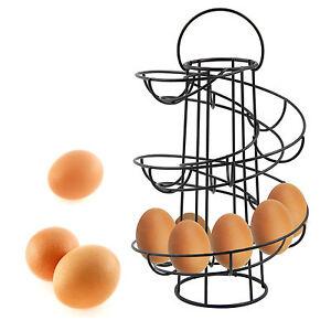 LALALALAL Spiral Egg Holder Kitchen Egg Storage Helter Skelter Egg Rack Red