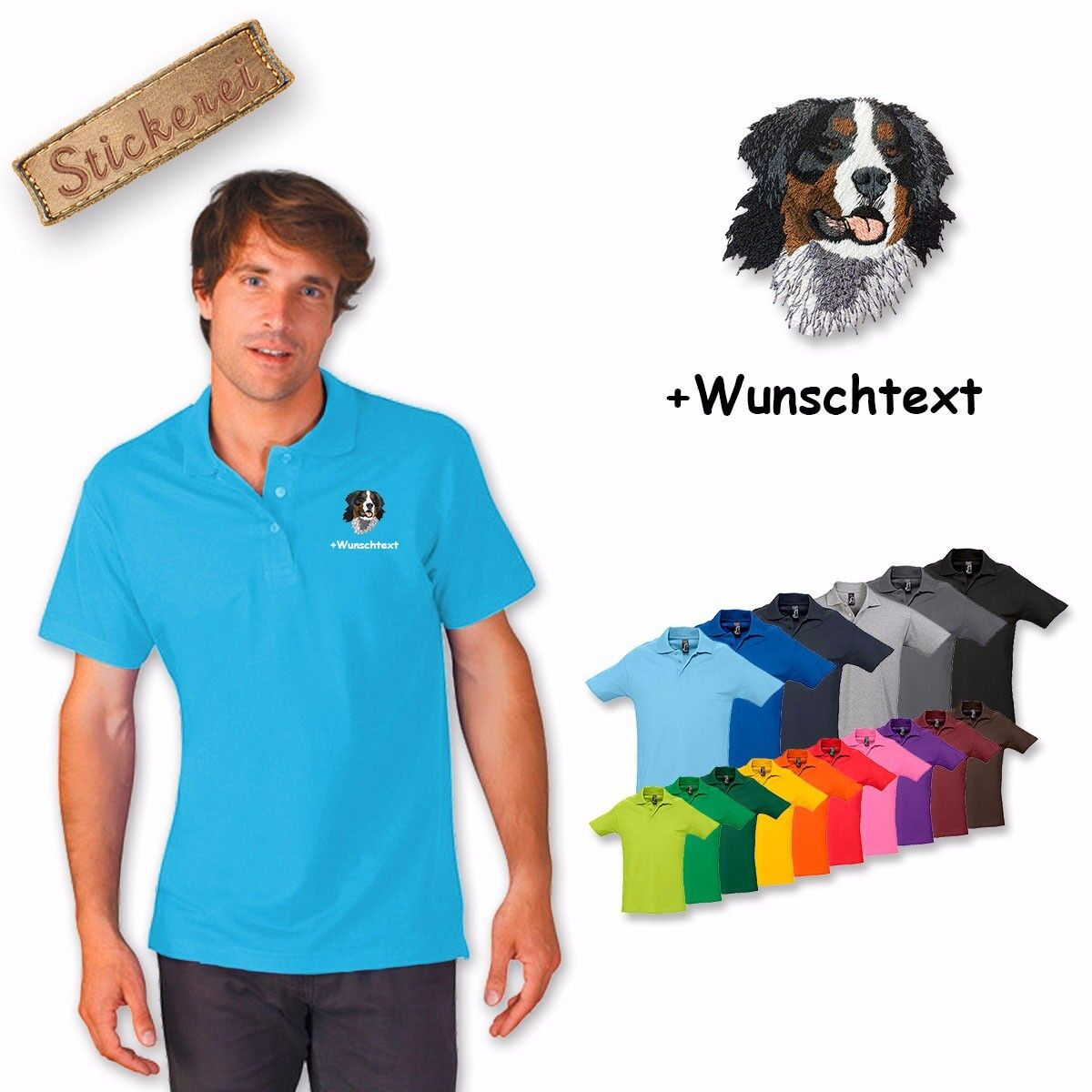 Polo Shirt Cotton embroidered Embroidery Bernese Mountain Dog 1 + Desired text