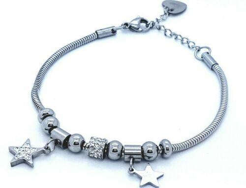 LADIE/'S STAINLESS STEEL CHARMS BRACELET SILVER STAR JEWELLERY