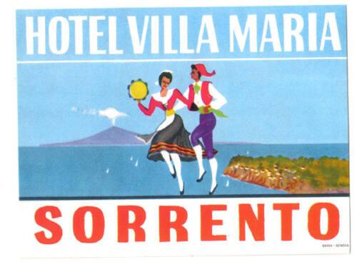 SORRENTO ITALY HOTEL VILLA MARIA VINTAGE LUGGAGE LABEL