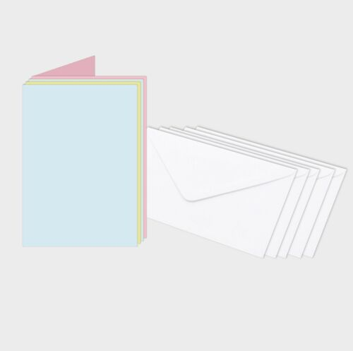 Plain Pastel Assorties Bespoke cartes de vœux 160gsm élevé de 15 avec 15 enveloppes