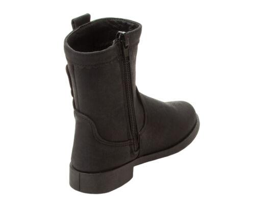 GIRLS BLACK GLITTER BUTTERFLY ZIP UP SCHOOL CASUAL CHELSEA WINTER BOOTS SIZE 7-2