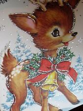Vintage Christmas Card UNUSED For Grandma Glitter Wreath Around Baby Deer Fawn