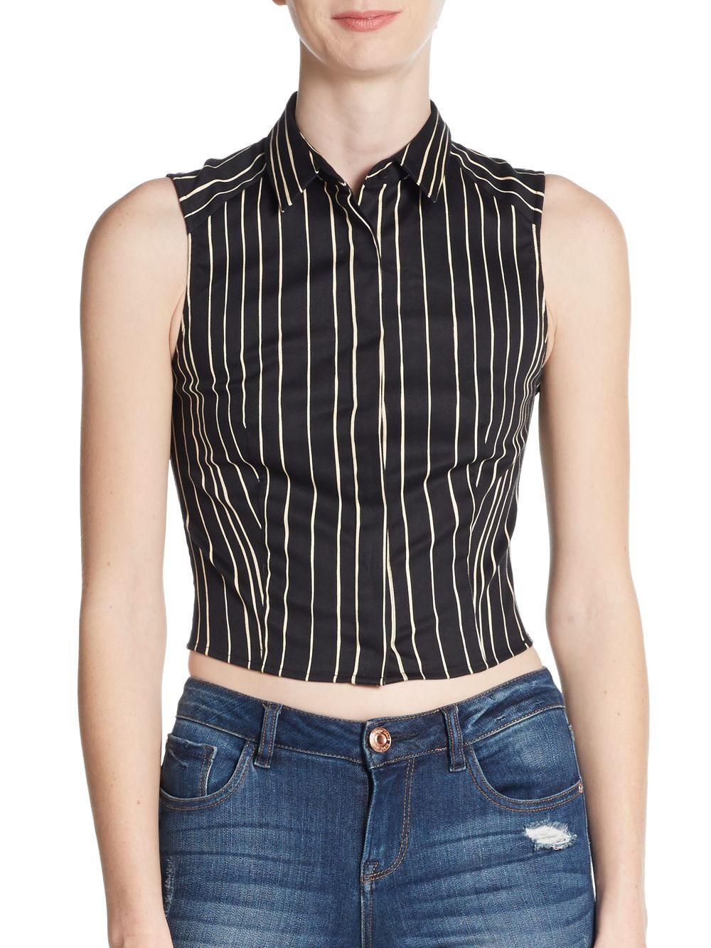 New Alice + Olivia 8 schwarz Beige Striped Stretch Button Down Shirt Lea Crop Top