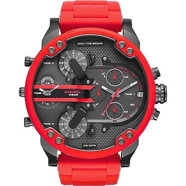 28d560420a3b Diesel Original DZ7370 Mr Daddy 2.0 Red Silicone Strap Chronograph Watch  57mm for sale online
