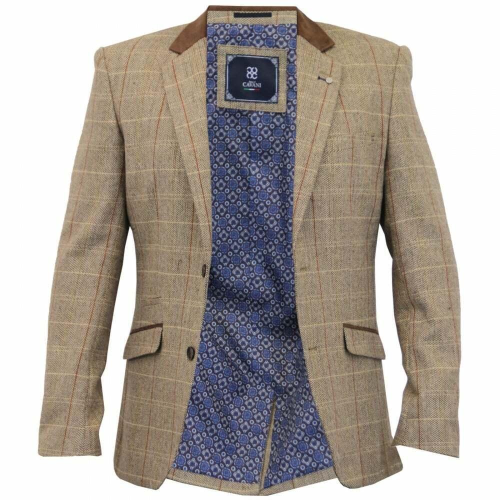 Cavani herren herren herren Neuf Designer Sergio Tweed Slim Fit Blazer braun Carreaux c6e