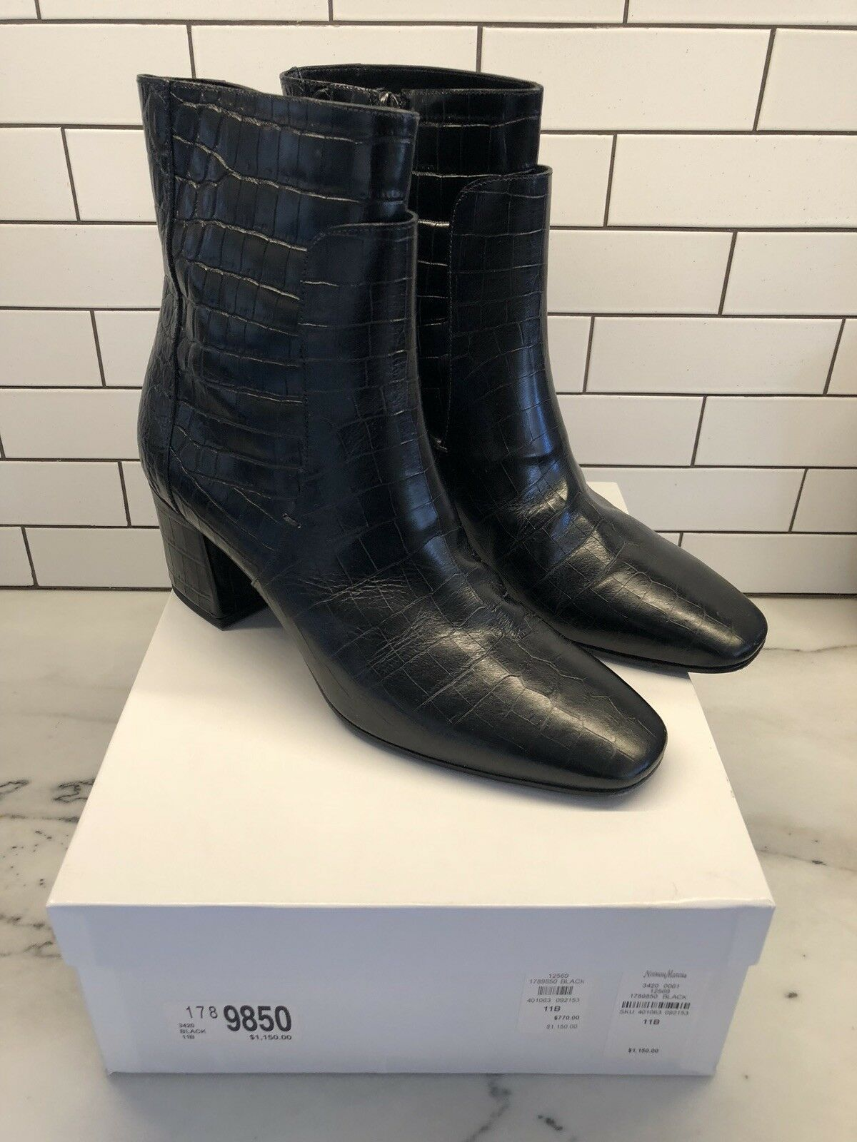 GIVENCHY BLACK STAMPED CROC BOOTS 1150 Neiman Marcus SIZE 41/10-11b worn once!