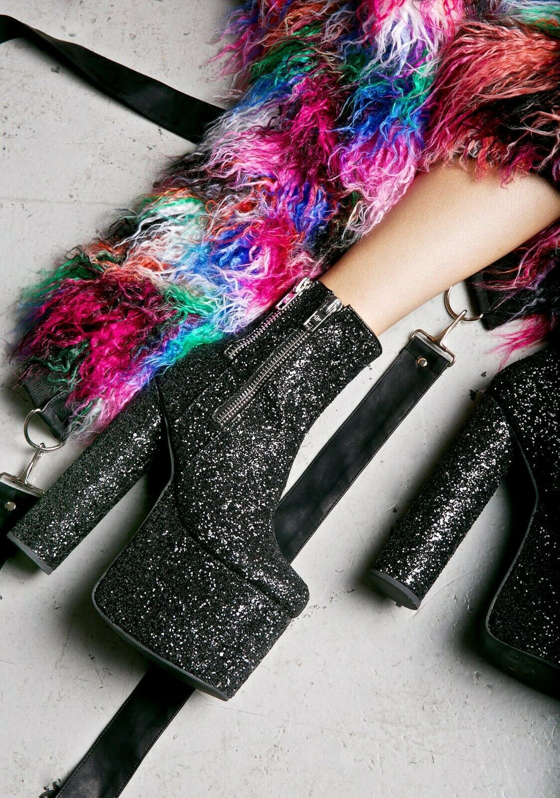 NEW current mood DANCE FLOOR DELINQUENT platform stivali nero glitters dollskill