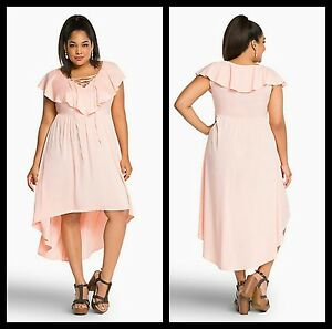 Details about NWT Torrid Plus Size 12 Lace Up Ruffle Hi-Lo Dress. Great  Easter Dress (SSS16)