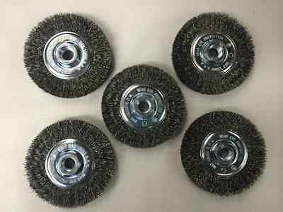 "*Set of 5* Crimped Wire Wheel Brush Paint Rust Remover 4/"" x 5//8/"" FREE SHIP"