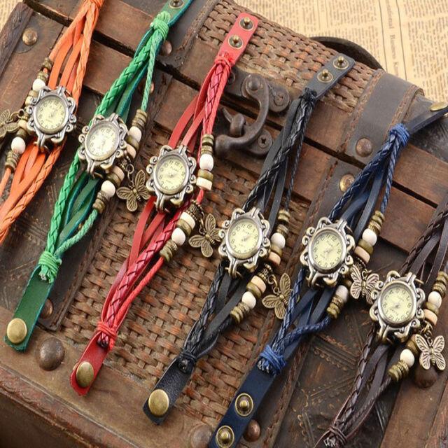 Delicate VINTAGE Retro Butterfly Bracelet Leather Quartz watch Bangle Wristwatch