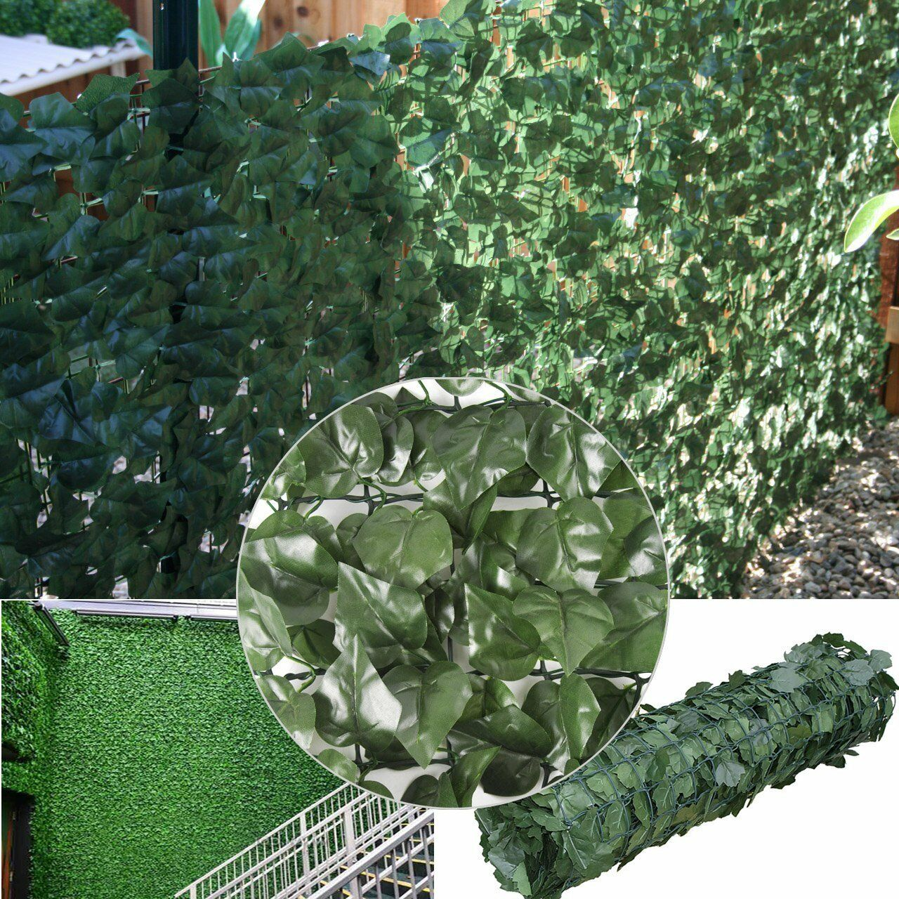 Artificial Ivy Hedge Fencing Faux Leaf Privacy Fence
