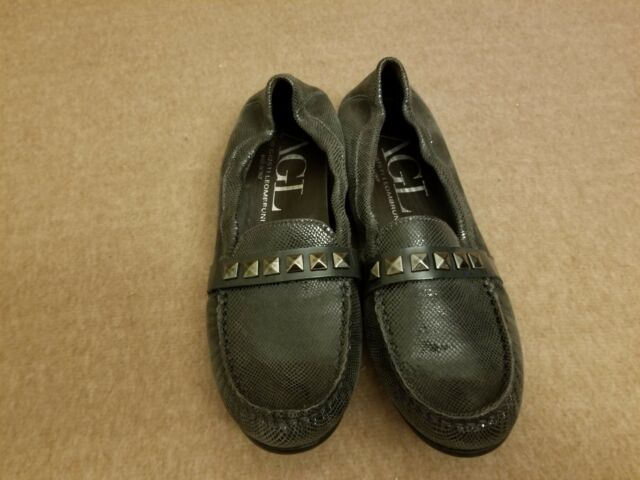 AGL Women Shoes Gray Ballet Flats Slip On Stud Stripe Loafers Size 37 / US 6-7