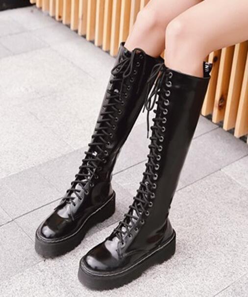 alta quaità donna Med Med Med Wedge Platform Round Toe Knee High Motorcycle stivali Lace Up scarpe F40  miglior prezzo
