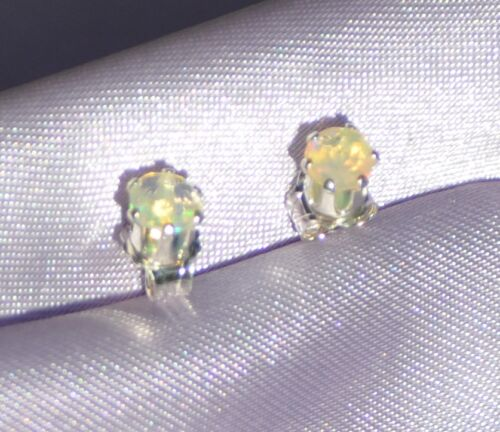 .50CTW LUSTROUS ROUND PETITE 4MM  OPAL STUDS -STERLING SILVER STUDS.