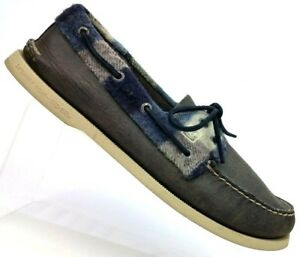 9bf656fa54be5 Sperry Top Sider Grey Leather Plaid Flannel 2-Eye Boat Shoe 12087 ...