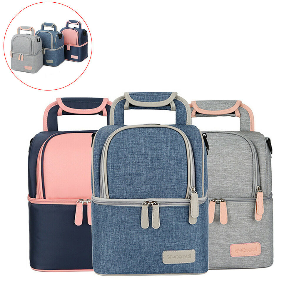 HD_ Thermal Lunch Box Cooler Food Double Layer Women Baby Mi