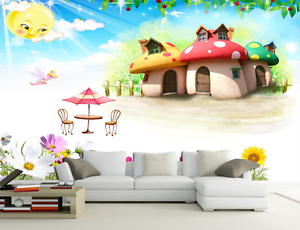 3D Mushroom House Beach 65 Paper Wall Print Wall Decal Wall Deco Indoor Murals
