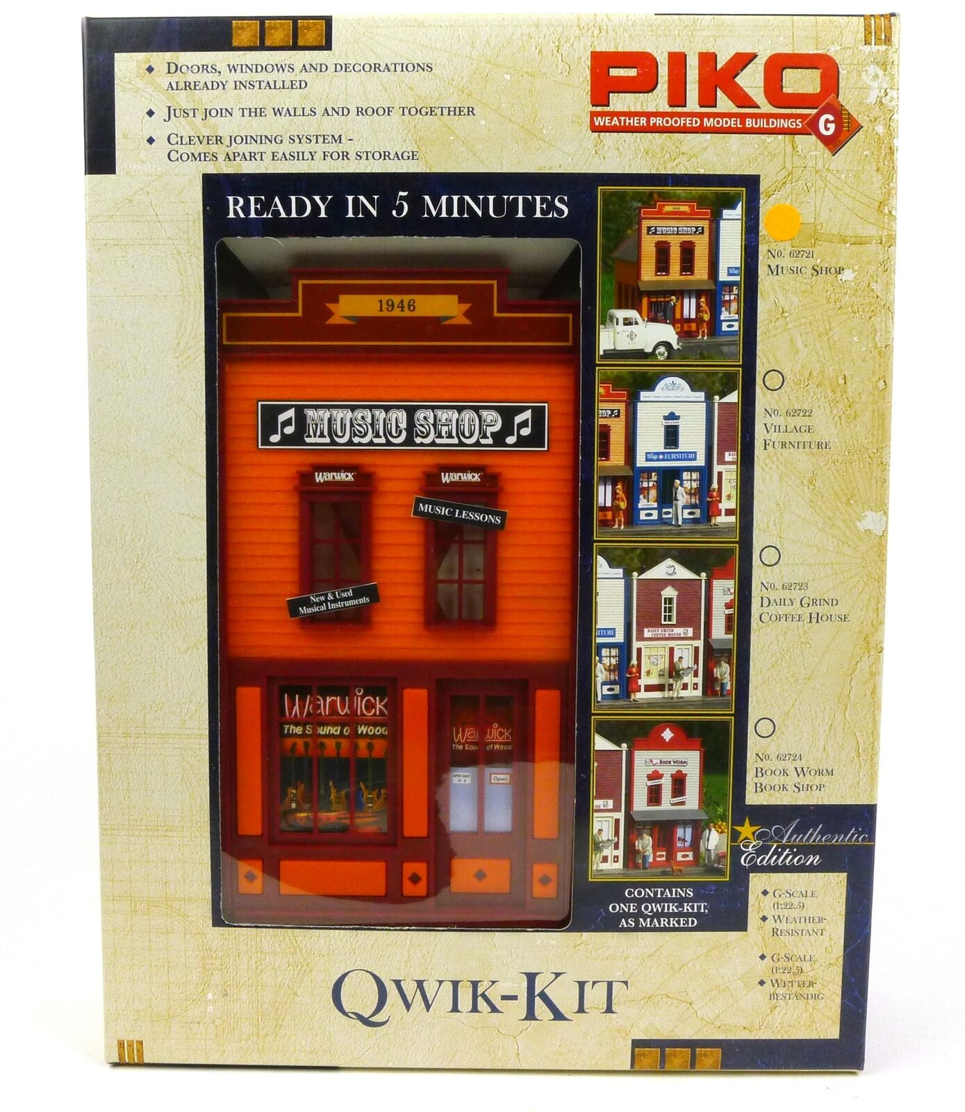 Piko Qwik Kit Music Shop Building Kit 62721 G Scale Trains
