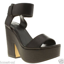 SCHUH WOMENS BLACK MAN MADE ANKLE STRAP HIGH HEELS SHOES SIZE 4 Was £55