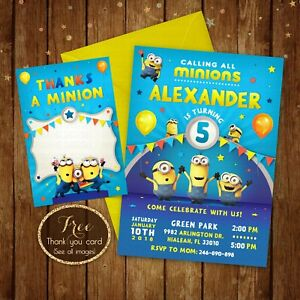 Details About Minions Birthday Invitation Party Card Digital Printable File