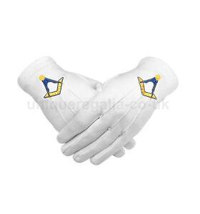 Masonico-Algodon-Blanco-Guante-Con-Amarillo-Bordado-a-maquina-ESCUADRA-Y-BRUJULA