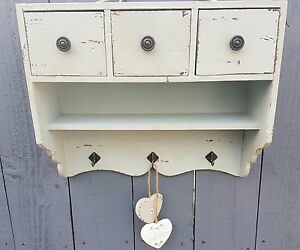 Image Is Loading Shabby Chic Wall Shelf Unit Cabinet Hooks Drawers