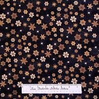 Christmas Fabric - Brown & Gold Snowflake Toss On Black - Hoffman Yard