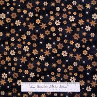Christmas Fabric - Brown & Gold Snowflake Toss On Black - Hoffman Yard