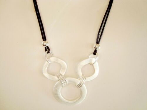 Chunky Silver Hoops Rings Black Leather Cord Collar Necklace  UK Designer Style