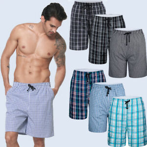 Men/'s Homewear Indoor Pajamas Cotton Plaid Lounge Wear Short Pants