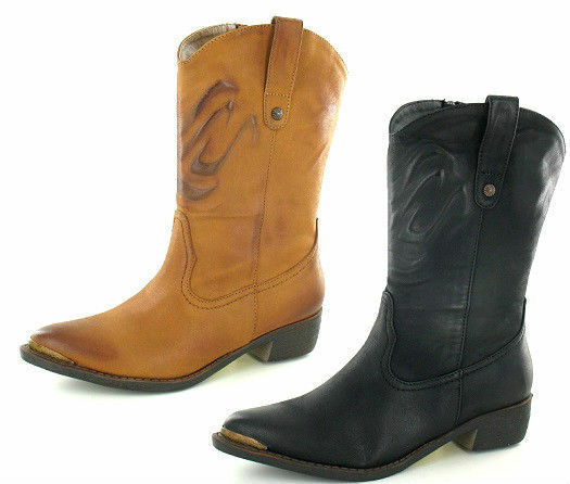 SALE Ladies Spot On synthetic mid calf boots available in black or tan F50170