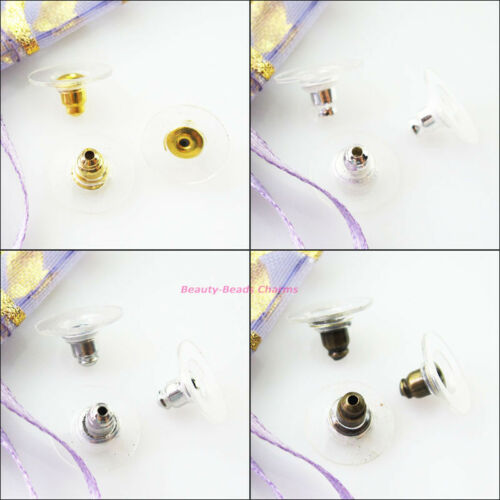 80Pc Earing Post Nut W//Pad Back Stopper 6x11.5mm Gold Dull Silver Bronze Plated