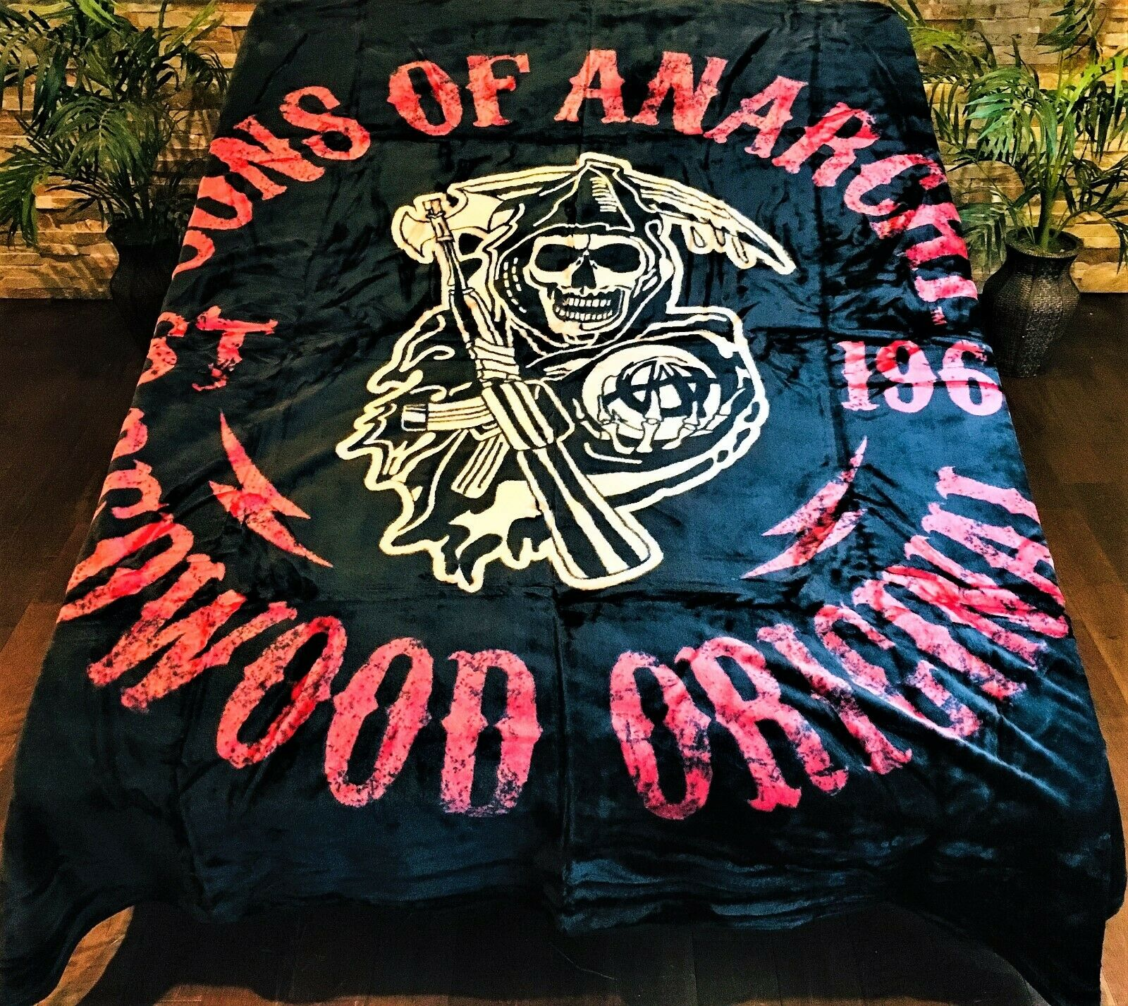 ☀️New  79x96 Luxury MEDIUM Weight Queen Blanket Sons of Anarchy rossowood Skull