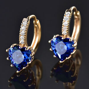 Image Is Loading Heart Huggie Ocean Blue Crystal Rhinestone Gold Filled
